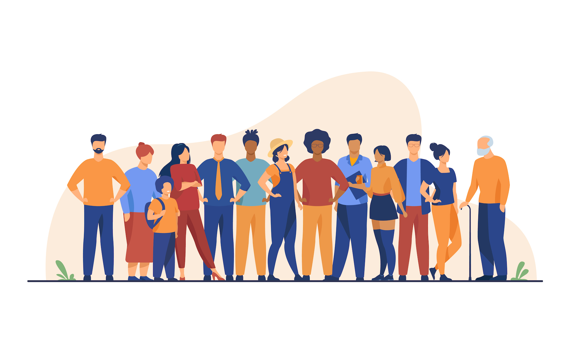 Diverse crowd of people of different ages and races. Multiracial community members standing together. Vector illustration for civil society, diversity, multinational public